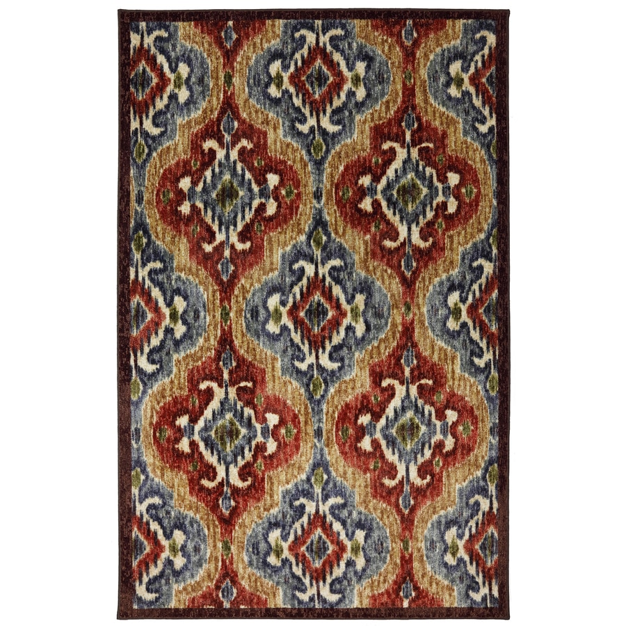 Mohawk Home Primary Ikat Multi Blue Rectangular Indoor Tufted Area Rug (Common: 5 x 8; Actual: 60-in W x 96-in L x 0.5-ft Dia)