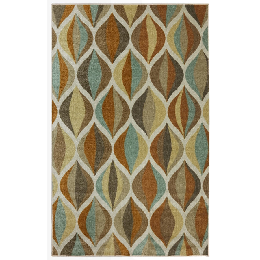 Mohawk Home Ornamental Ogee Multi Taupe Rectangular Indoor Tufted Area Rug (Common: 5 x 8; Actual: 60-in W x 96-in L x 0.5-ft Dia)