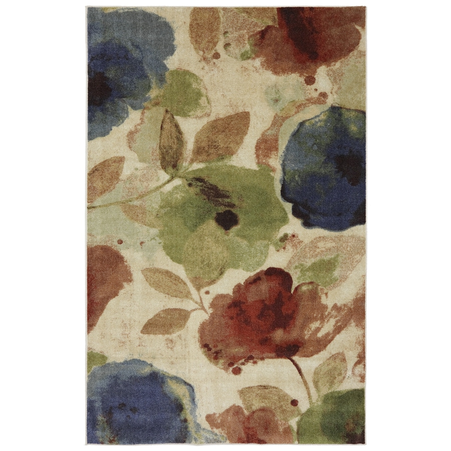 Mohawk Home Watercolor Floral Cream and Multicolor Rectangular Indoor Tufted Area Rug (Common: 8 x 10; Actual: 96-in W x 120-in L x 0.5-ft Dia)