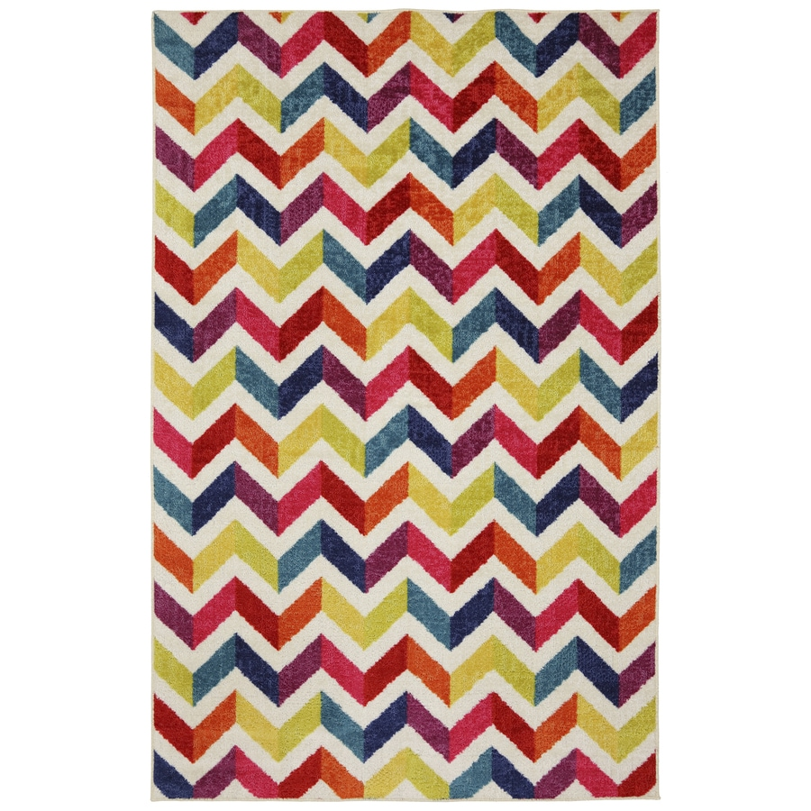Mohawk Home Mixed Chevrons Multicolor Rectangular Indoor Tufted Area Rug (Common: 5 x 8; Actual: 60-in W x 96-in L x 0.5-ft Dia)