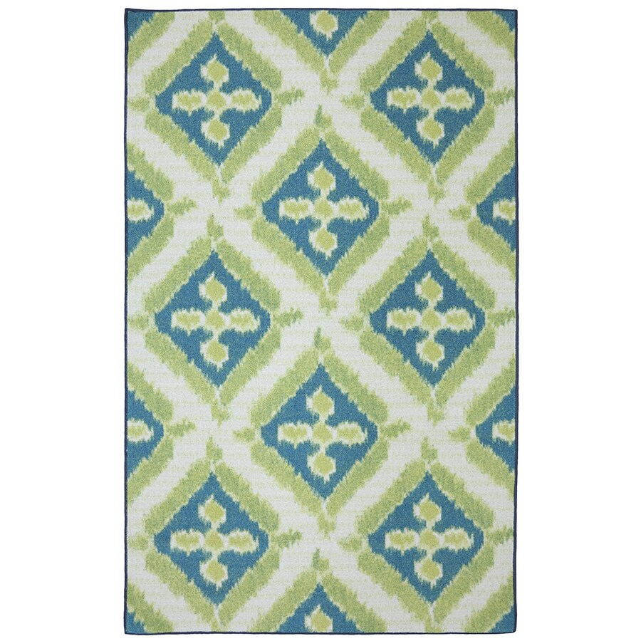 Mohawk Home Summer Splash Blue Rectangular Outdoor Tufted Area Rug (Common: 5 x 8; Actual: 60-in W x 96-in L x 0.5-ft Dia)