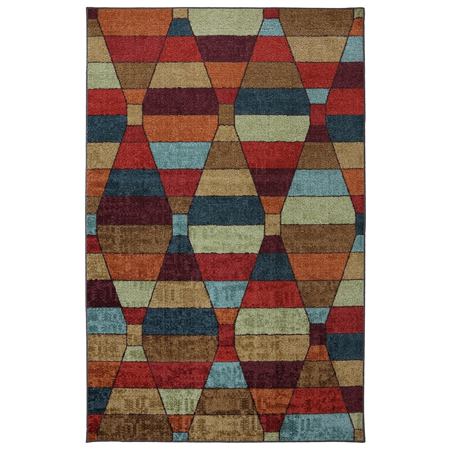 Mohawk Home Rhombus Rectangular Red Geometric Tufted Area Rug (Common: 8-ft x 10-ft; Actual: 96-in x 120-in)