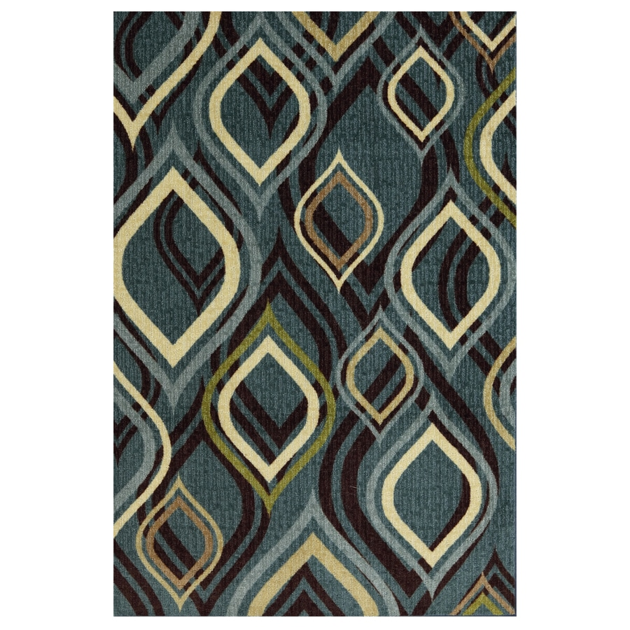 Style Selections Pedrin Blue Rectangular Indoor Tufted Throw Rug (Common: 2 x 4; Actual: 24-in W x 40-in L x 0.5-ft Dia)