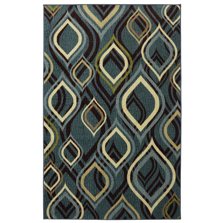 Style Selections Pedrin Blue Rectangular Indoor Tufted Area Rug (Common: 5 x 8; Actual: 60-in W x 96-in L x 0.5-ft Dia)