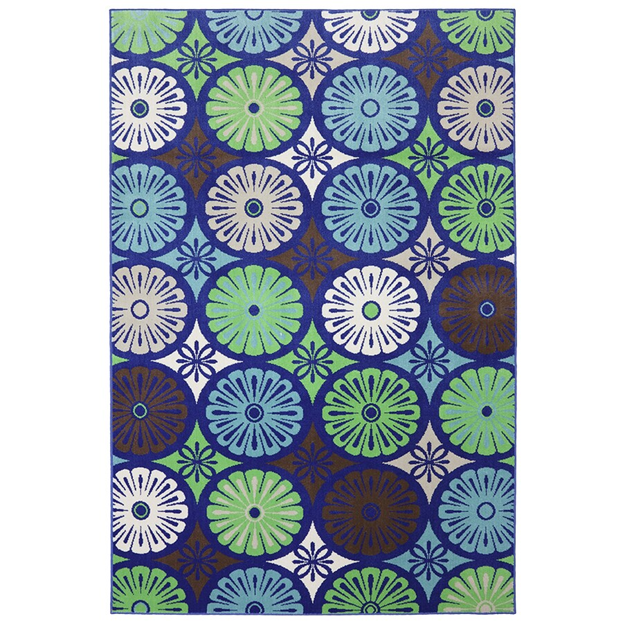 Mohawk Home Penny Loafer Rectangular Blue Floral Outdoor Woven Area Rug (Common: 5-ft x 8-ft; Actual: 5.25-ft x 7.83-ft)