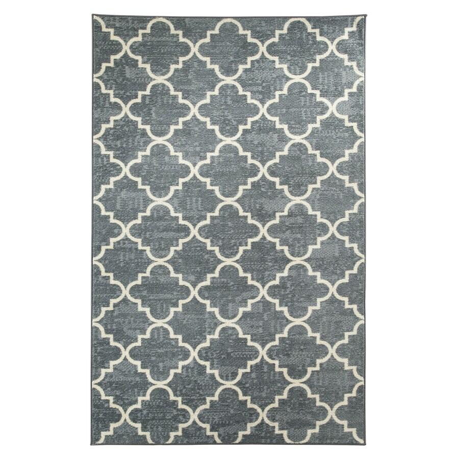 Mohawk Home Fancy Trellis Gray Rectangular Indoor Tufted Area Rug (Common: 5 x 8; Actual: 60-in W x 96-in L x 0.5-ft Dia)
