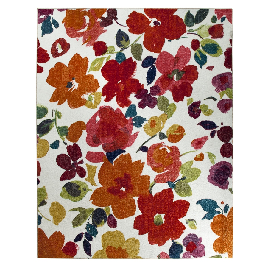 Shop mohawk home bright floral white rectangular indoor for Bright floral area rugs