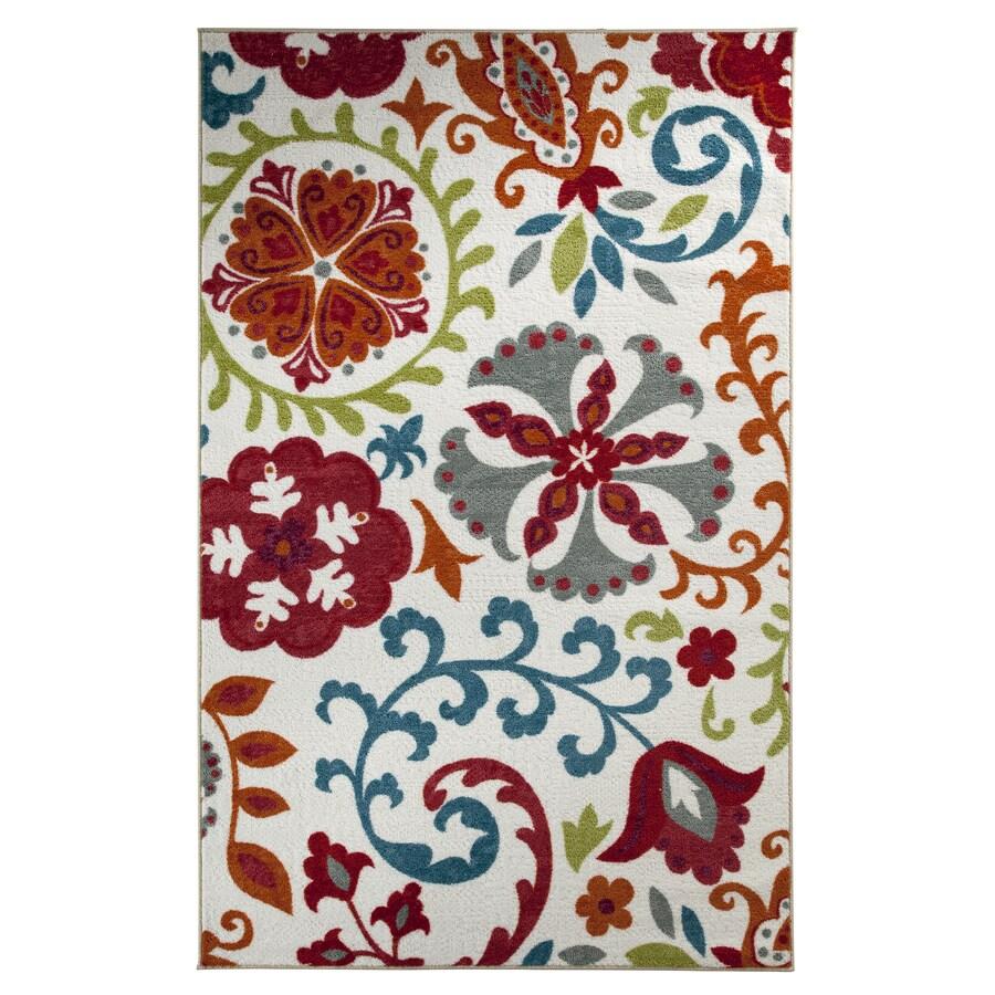 Mohawk Home Idas Garden White Rectangular Indoor Tufted Area Rug (Common: 5 x 8; Actual: 60-in W x 96-in L x 0.5-ft Dia)