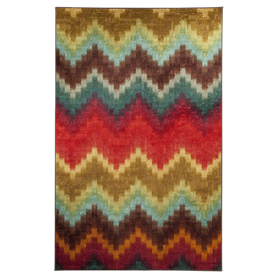 Mohawk Home Painted Zig Zag Multicolor Rectangular Indoor Tufted Area Rug (Common: 5 x 8; Actual: 60-in W x 96-in L x 0.5-ft Dia)