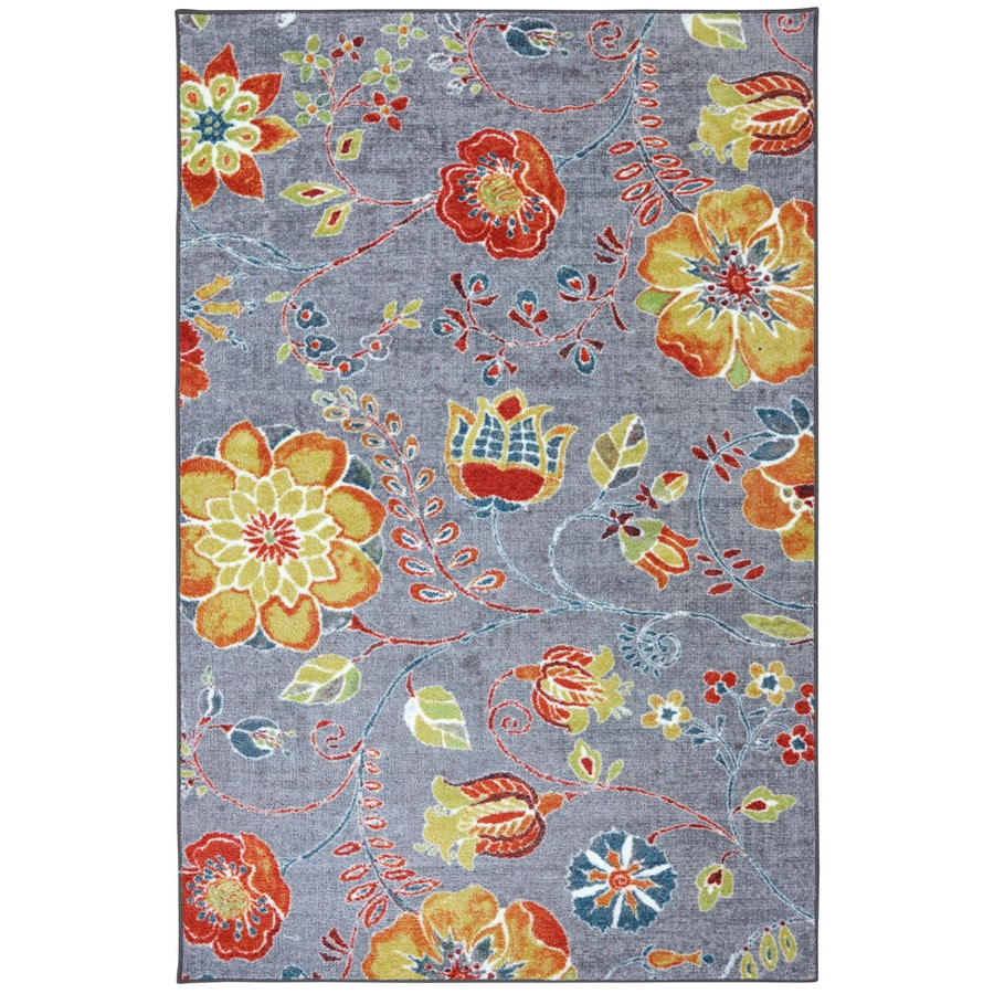 Mohawk Home Free Spirit Rectangular Gray Floral Tufted Area Rug (Common: 5-ft x 8-ft; Actual: 5-ft x 8-ft)