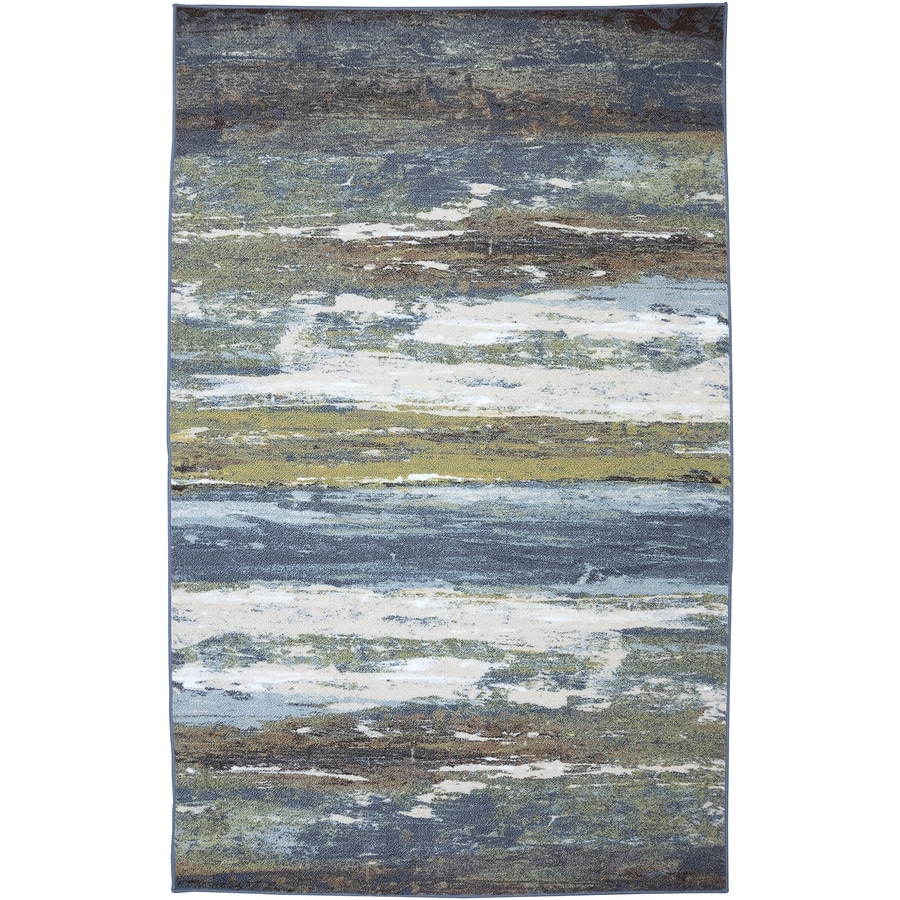 Mohawk Home Abstract Shore Blue Spa Blue Rectangular Indoor Tufted Area Rug (Common: 8 x 10; Actual: 96-in W x 120-in L x 0.5-ft Dia)