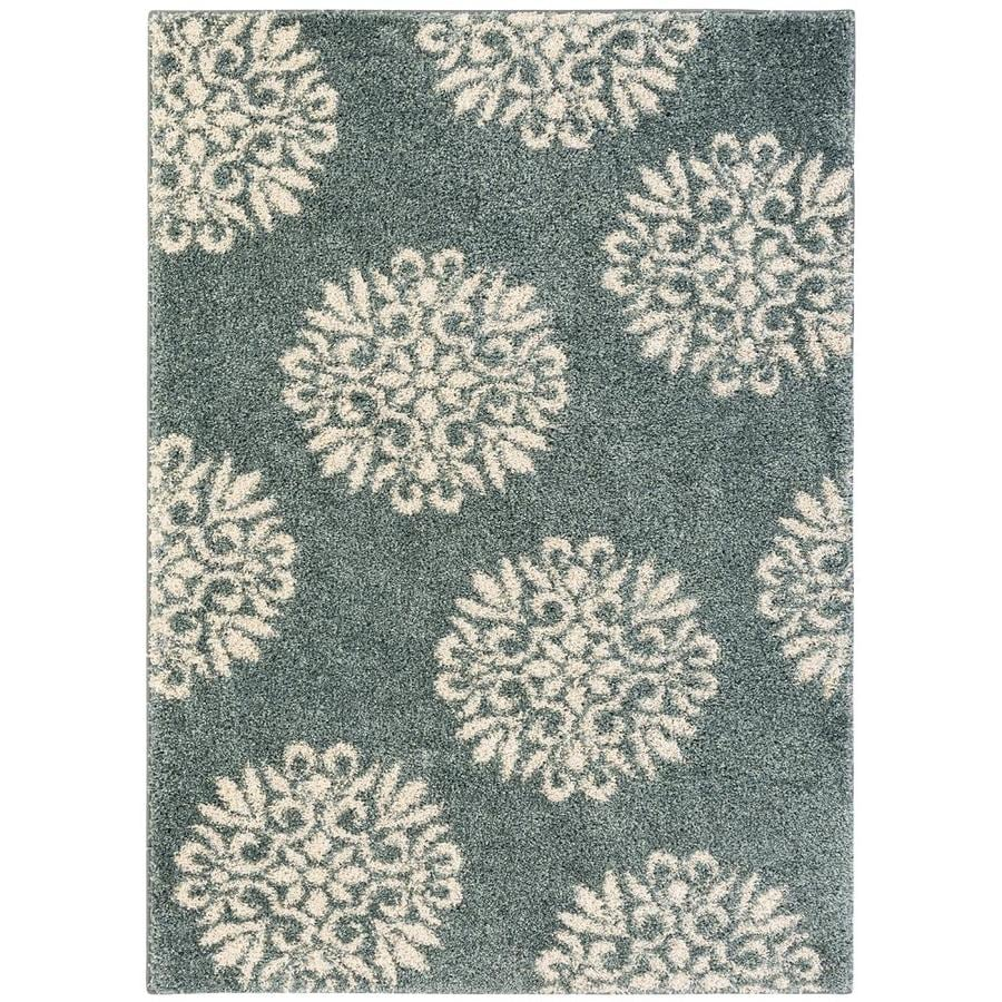 Mohawk Home Exploded Medallions Slate Blue Rectangular Indoor Woven Area Rug (Common: 8 x 10; Actual: 96-in W x 120-in L x 0.5-ft Dia)