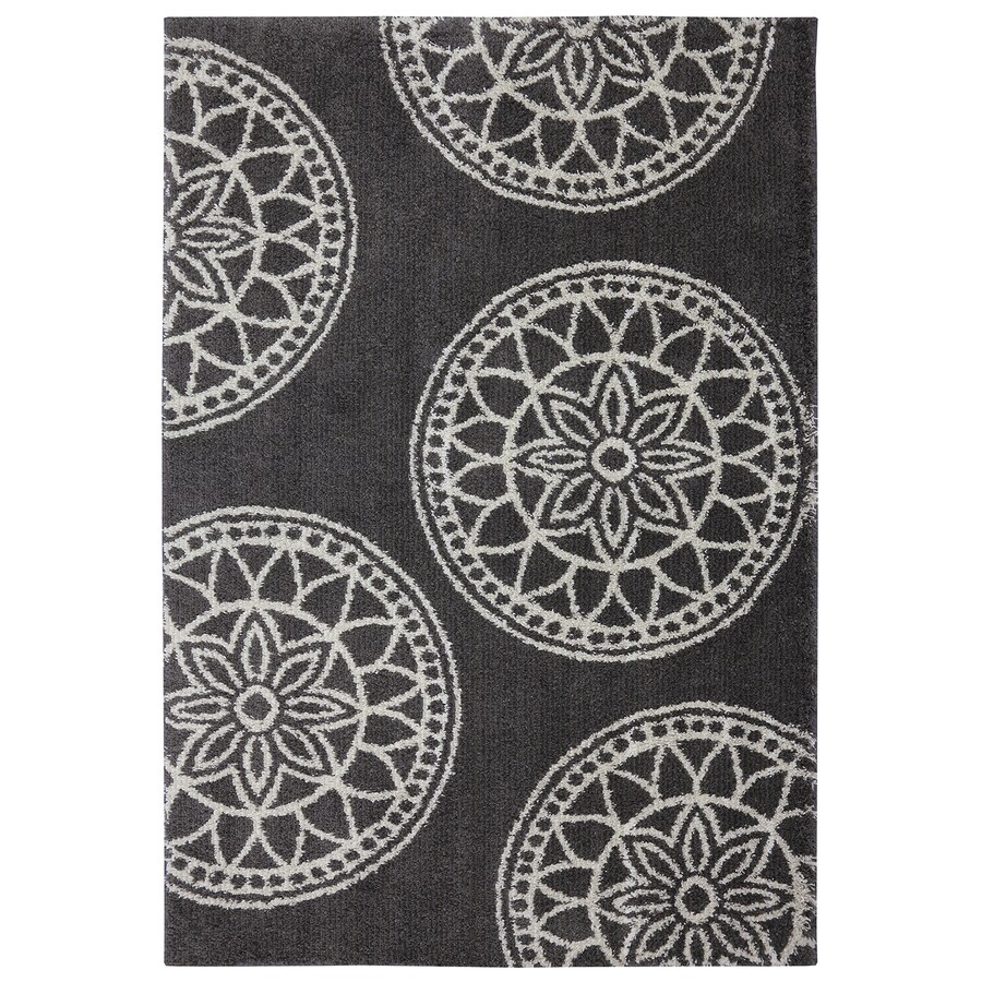 Mohawk Home Gray Medallions Dark Taupe Rectangular Indoor Woven Area Rug (Common: 5 x 7; Actual: 60-in W x 84-in L x 0.5-ft Dia)