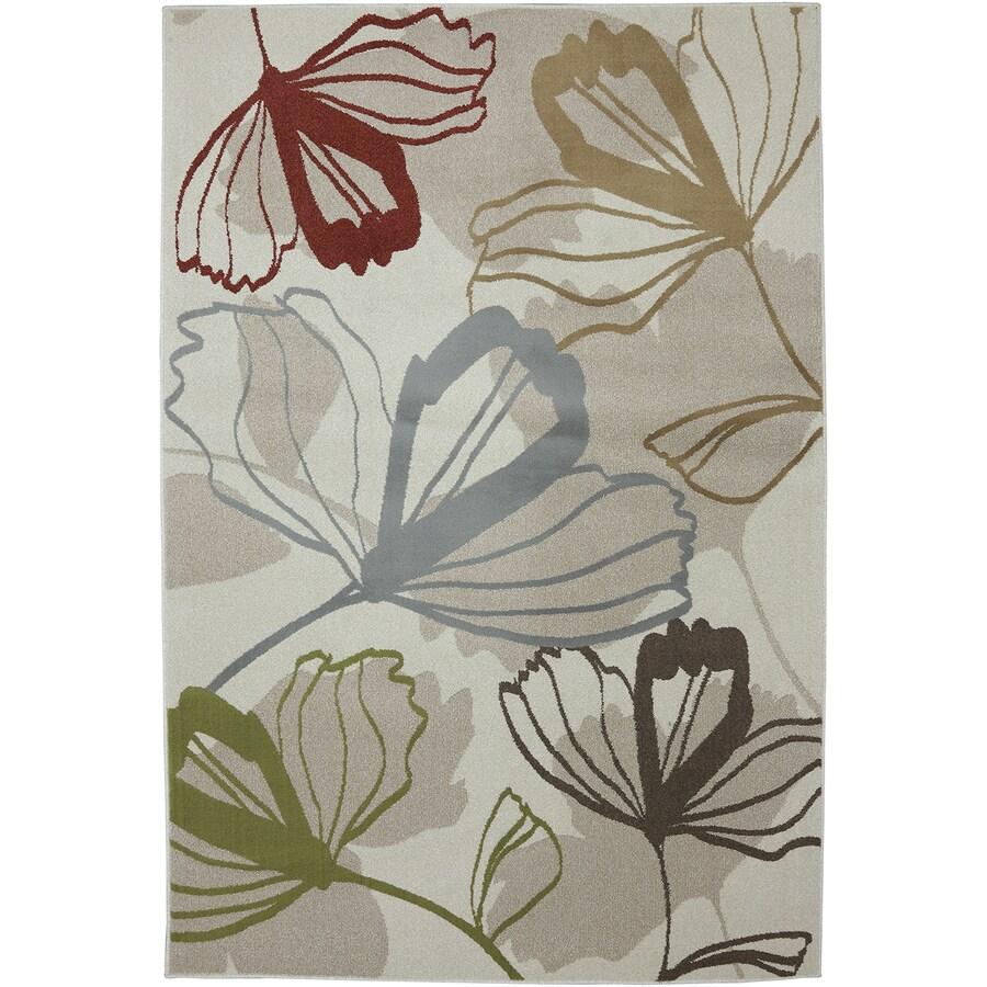 Mohawk Home Big Bloom Cream/Multicolor Rectangular Indoor Woven Area Rug (Common: 5 x 8; Actual: 63-in W x 94-in L x 0.5-ft Dia)