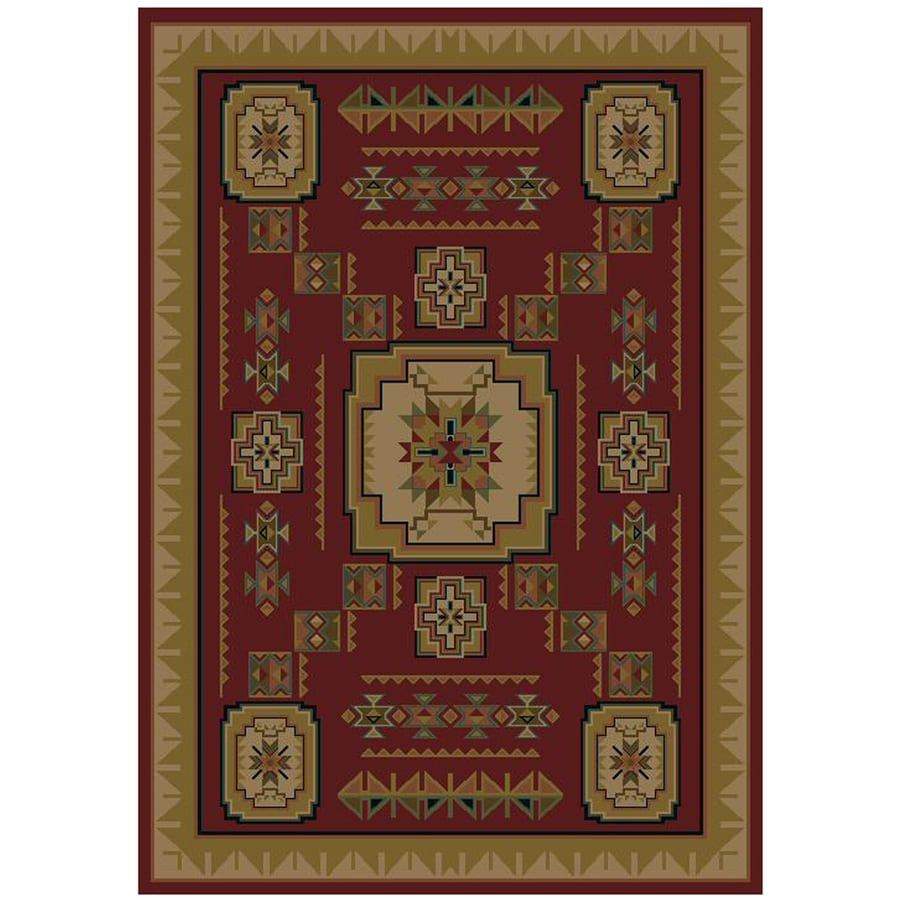 Mohawk Home Pueblo Rectangular Red Geometric Woven Area Rug (Common: 8-ft x 11-ft; Actual: 94-in x 130-in)