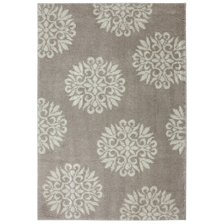Mohawk Home Exploded Medallions Beige Rectangular Indoor Woven Area Rug (Common: 8 x 10; Actual: 96-in W x 120-in L x 0.5-ft Dia)