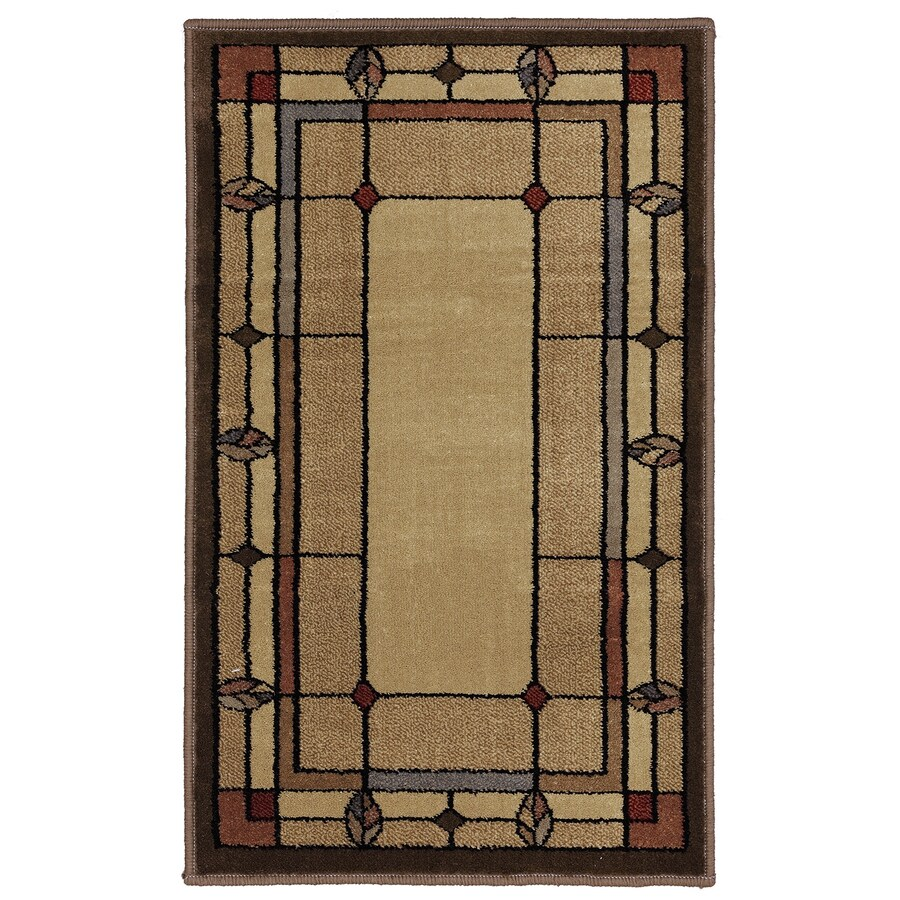 Mohawk Home Leaf Point Multi Brown Rectangular Indoor Woven Throw Rug (Common: 2 x 3; Actual: 23-in W x 38-in L x 0.5-ft Dia)