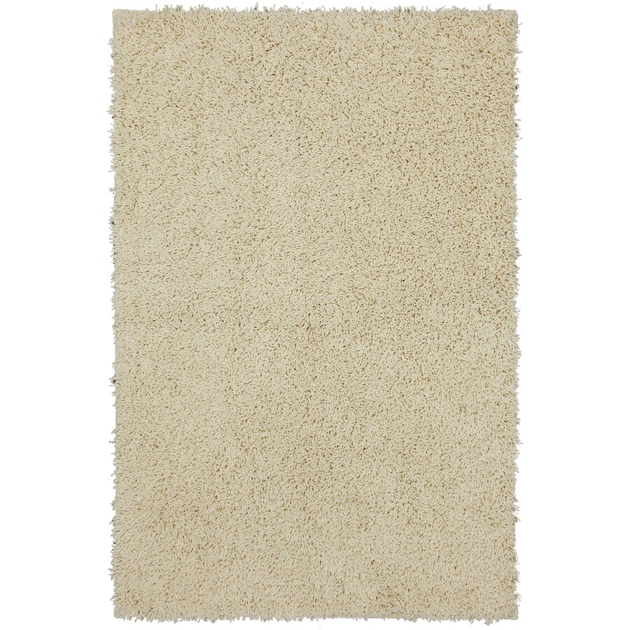 Mohawk Home Shaggedy Shag Cream Ivory Rectangular Indoor Shag Area Rug (Common: 5 x 7; Actual: 60-in W x 84-in L x 0.5-ft dia)