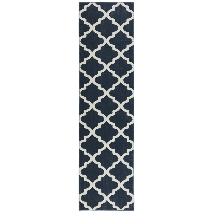 Mohawk Home Elysian Trellis Dark Slate Rectangular Indoor Woven Runner (Common: 2 x 8; Actual: 25-in W x 94-in L x 0.5-ft Dia)