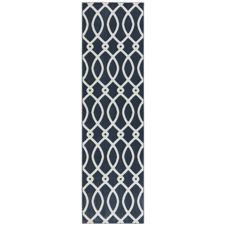 Mohawk Home Chain Link Dark Slate Rectangular Indoor Woven Runner (Common: 2 x 8; Actual: 25-in W x 94-in L x 0.5-ft Dia)