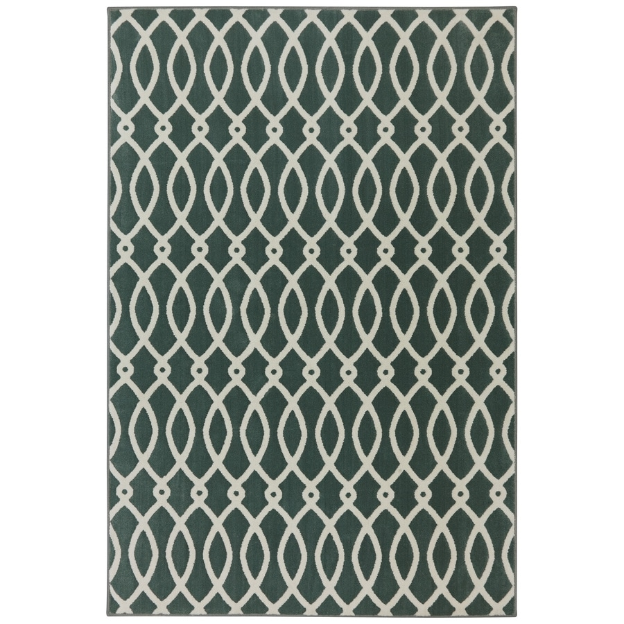 Mohawk Home Chain Link Green Milieu Rectangular Indoor Woven Area Rug (Common: 5 x 8; Actual: 63-in W x 94-in L x 0.5-ft Dia)