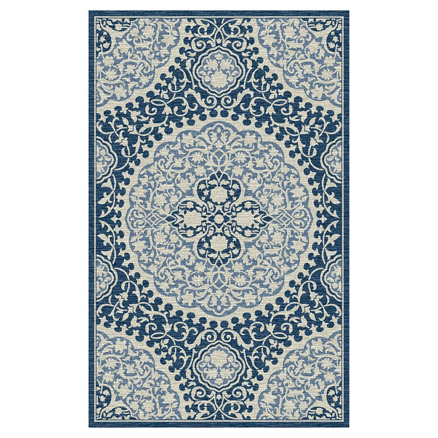 Mohawk Home Tahj Blue Rectangular Indoor Tufted Area Rug (Common: 8 x 10; Actual: 96-in W x 120-in L x 0.5-ft Dia)