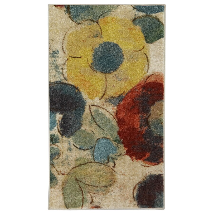 Mohawk Home Wildflower Cream/Multicolor Rectangular Indoor Tufted Throw Rug (Common: 2 x 4; Actual: 24-in W x 40-in L x 0.5-ft Dia)