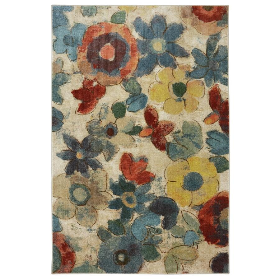 Mohawk Home Wildflower Cream/Multicolor Rectangular Indoor Tufted Area Rug (Common: 5 x 8; Actual: 60-in W x 96-in L x 0.5-ft Dia)