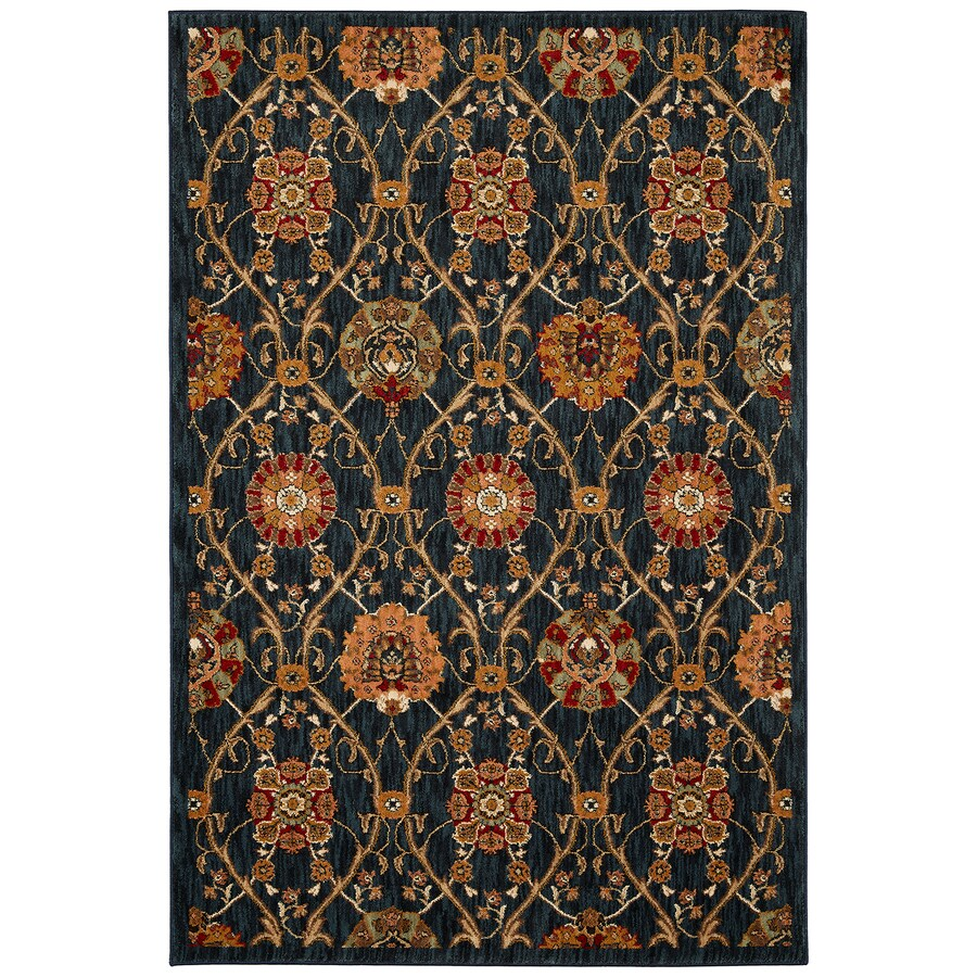 Mohawk Home Barre Navy Black Rectangular Indoor Woven Area Rug (Common: 8 x 11; Actual: 96-in W x 132-in L x 0.5-ft Dia)