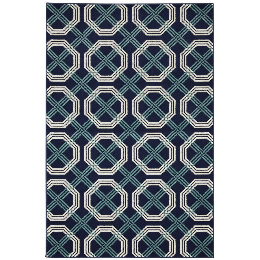 Mohawk Home Fenwick Blue Glory Blue Rectangular Indoor Woven Area Rug (Common: 8 x 10; Actual: 96-in W x 120-in L x 0.5-ft Dia)