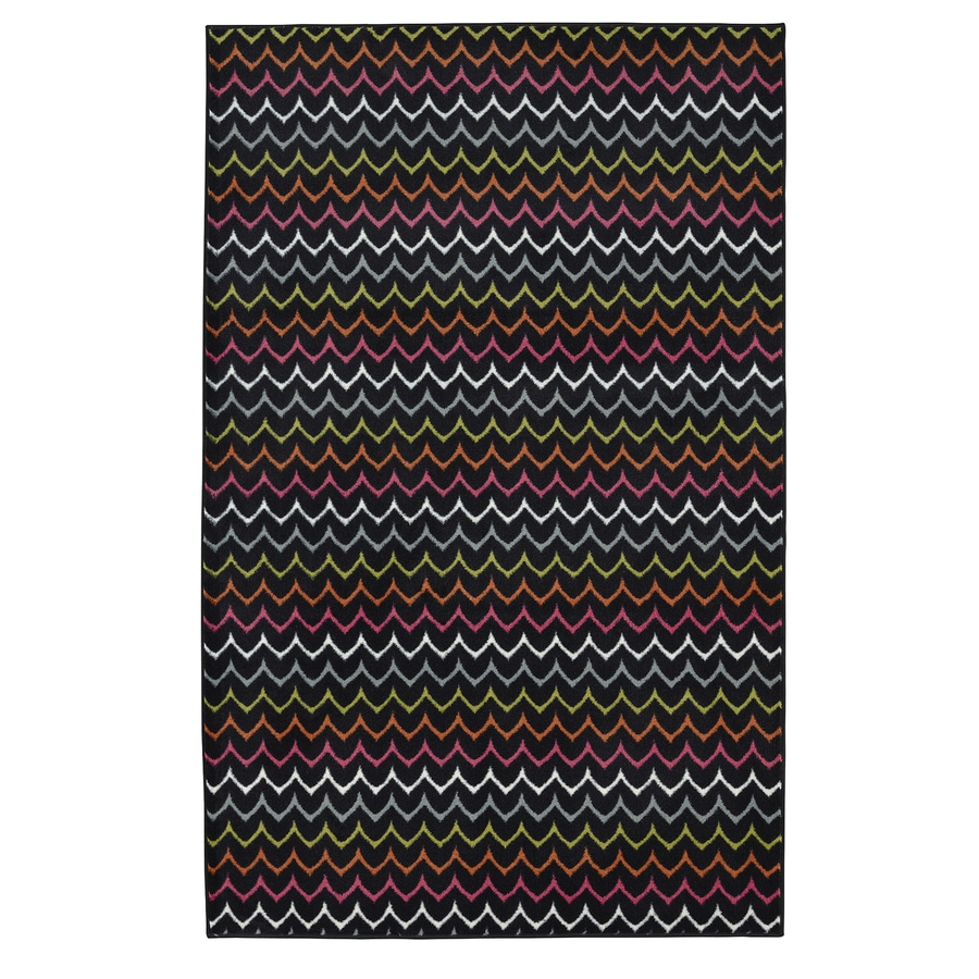 Mohawk Home Dyllan Multi Black Rectangular Indoor Tufted Area Rug (Common: 5 x 8; Actual: 60-in W x 96-in L x 0.5-ft Dia)