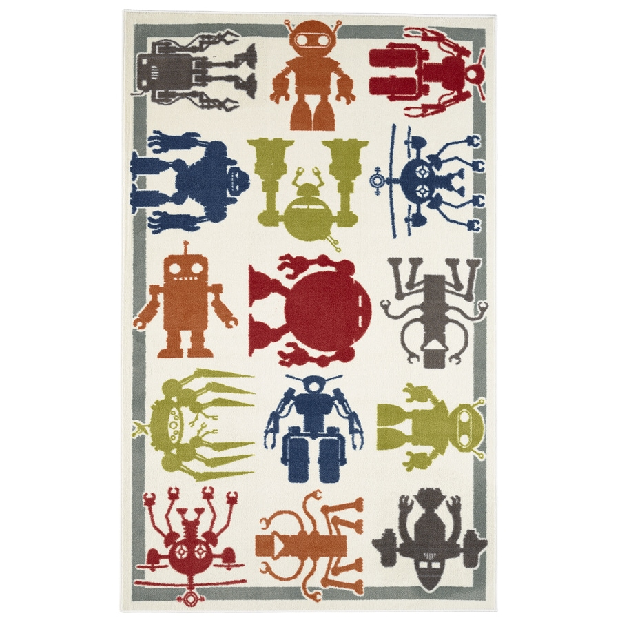 Mohawk Home Robot Army Multicolor Rectangular Indoor Tufted Area Rug (Common: 5 x 8; Actual: 60-in W x 96-in L x 0.5-ft Dia)
