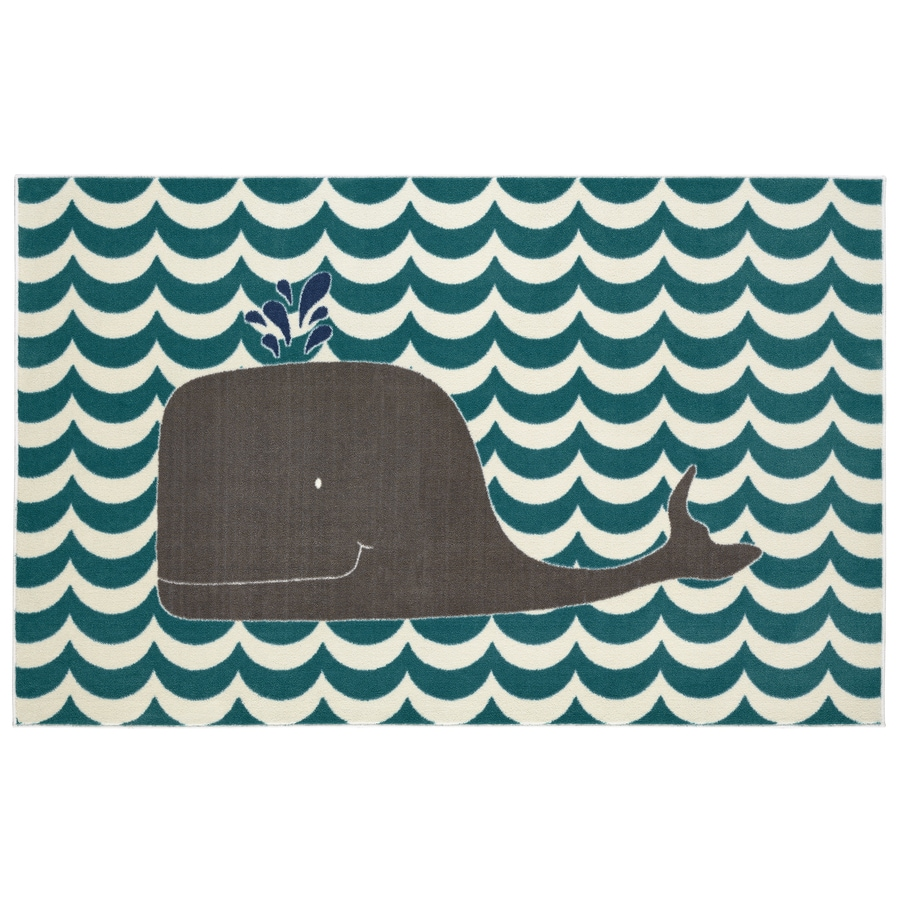 Mohawk Home Oh Whale Blue Teal Rectangular Indoor Tufted Area Rug (Common: 5 x 8; Actual: 60-in W x 96-in L x 0.5-ft Dia)