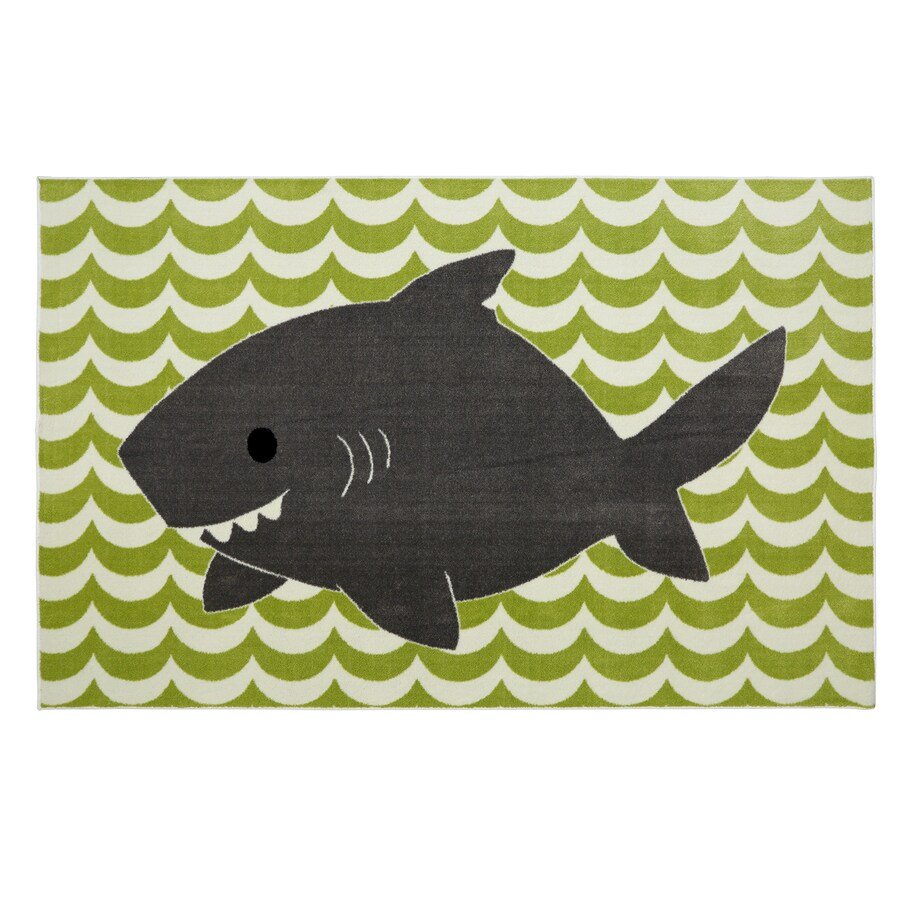 Mohawk Home Smiling Shark Lime Green Lime Rectangular Indoor Tufted Area Rug (Common: 5 x 8; Actual: 60-in W x 96-in L x 0.5-ft Dia)