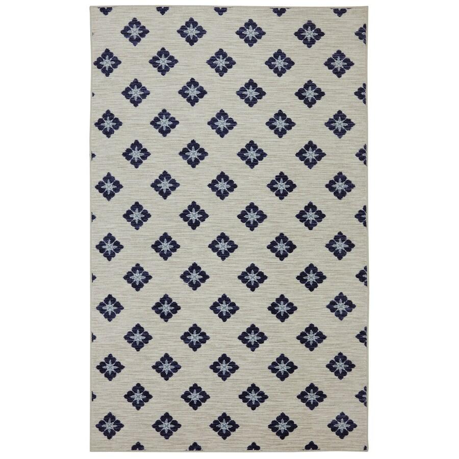 Mohawk Home Button Fleur Navy Cream Rectangular Indoor Tufted Area Rug (Common: 5 x 8; Actual: 60-in W x 96-in L x 0.5-ft Dia)