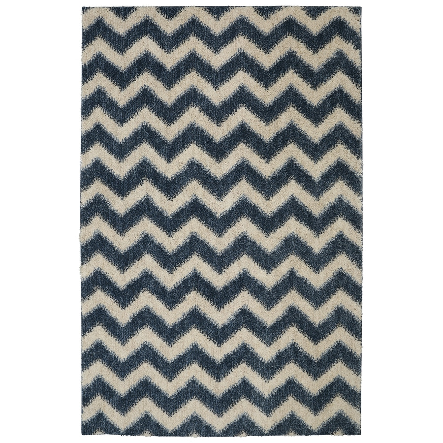 Mohawk Home Stitched Chevron Blue Blue Rectangular Indoor Woven Area Rug (Common: 5 x 8; Actual: 60-in W x 96-in L)