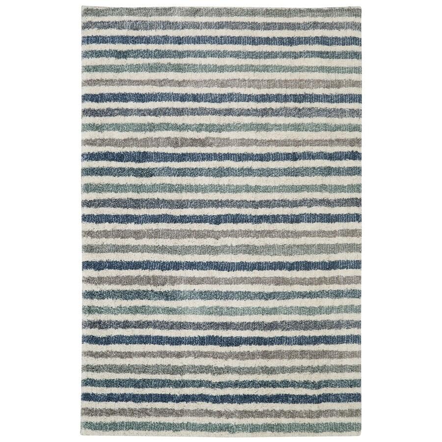 Mohawk Home Boardwalk Stripe Blue Beige Rectangular Indoor Woven Area Rug (Common: 8 x 10; Actual: 96-in W x 120-in L)