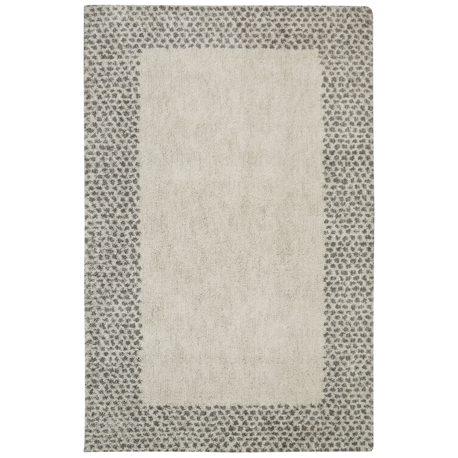 Mohawk Home Spotted Border Gray Beige Rectangular Indoor Woven Area Rug (Common: 5 x 8; Actual: 60-in W x 96-in L)