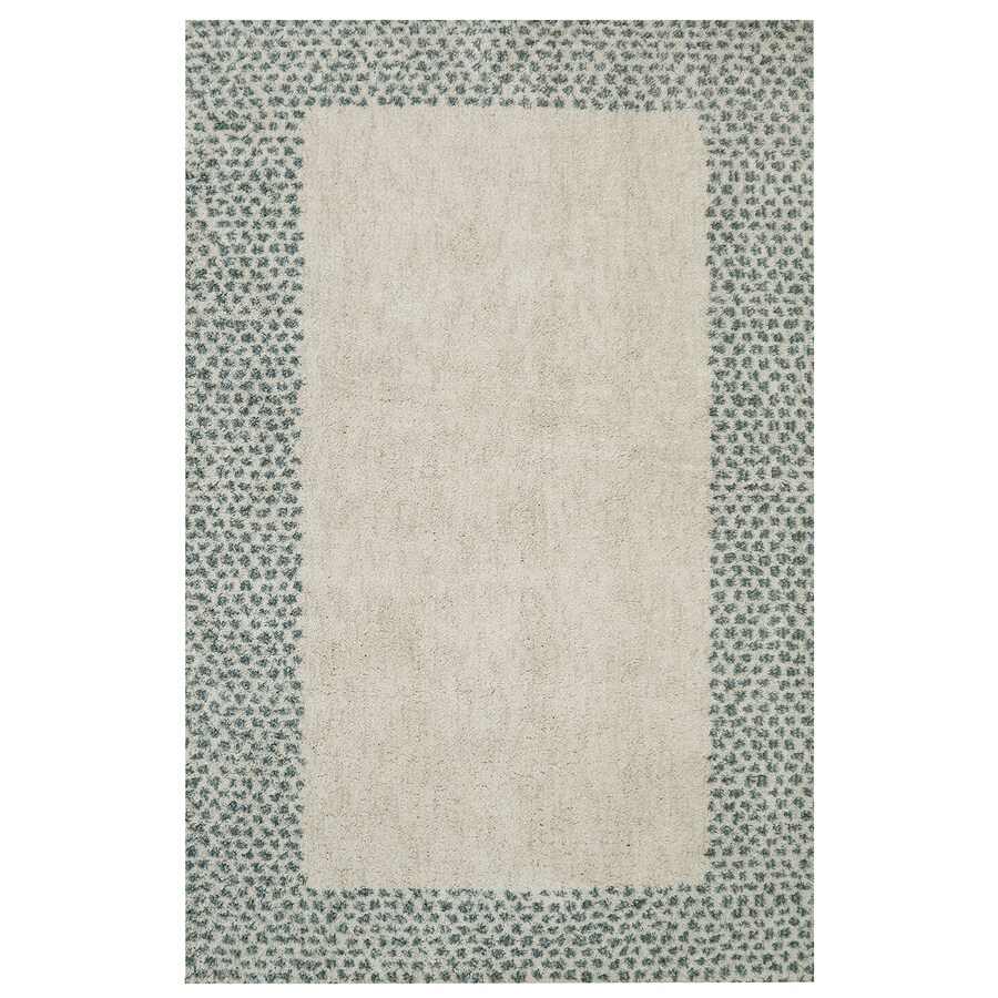 Mohawk Home Spotted Border Green Beige Rectangular Indoor Woven Area Rug (Common: 8 x 10; Actual: 96-in W x 120-in L)
