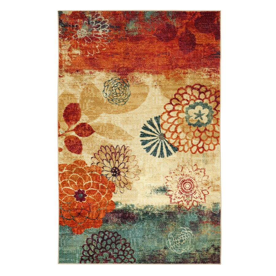 Mohawk Home Pandora Multicolor Geo Floral Pattern Multicolor Rectangular Indoor Machine-Made Area Rug