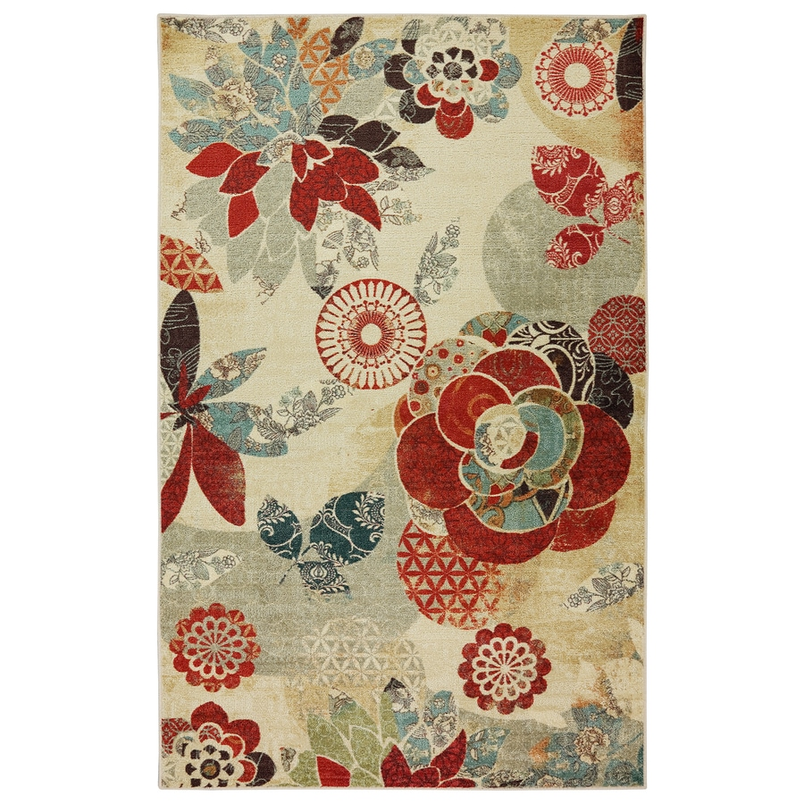 Mohawk Home Geo Geo Floral Pattern Multicolor Rectangular Indoor Machine-Made Area Rug