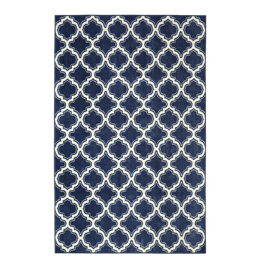 Mohawk Home Calabasas Uno Navy Blue Rectangular Indoor Tufted Area Rug (Common: 5 x 8; Actual: 60-in W x 96-in L)