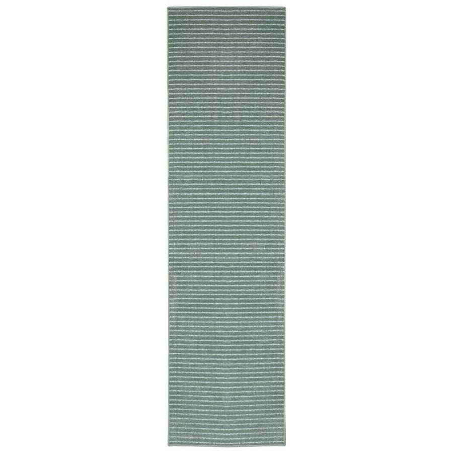 allen + roth Cattar Aqua Rectangular Indoor Tufted Runner (Common: 2 x 8; Actual: 24-in W x 96-in L x 0-ft Dia)