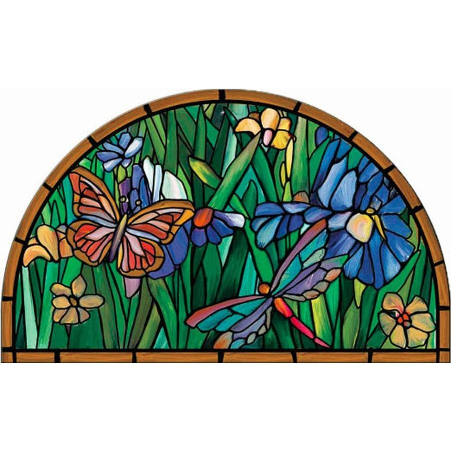 Style Selections Multi-Color Stained Glass Semicircle Door Mat (Common: 22-in x 36-in; Actual: 22-in x 36-in)