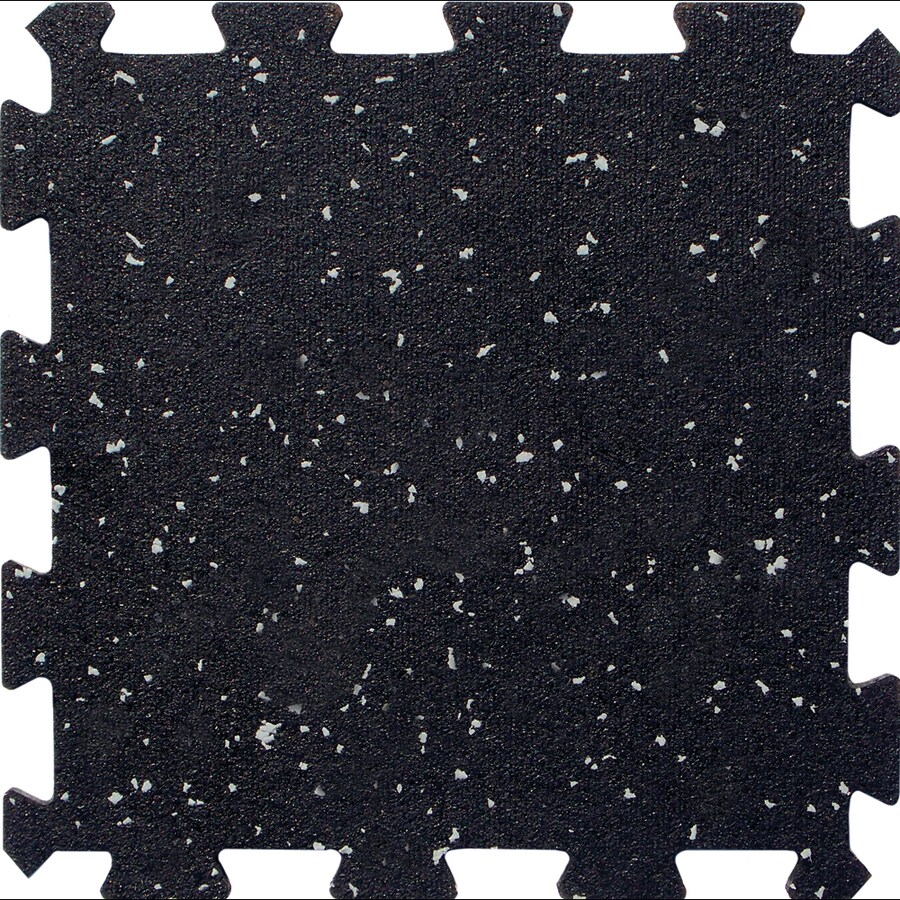 Apache Mills, Inc. 12-Pack 12-in x 12-in Black with Gray Specks Loose Lay Rubber Tile