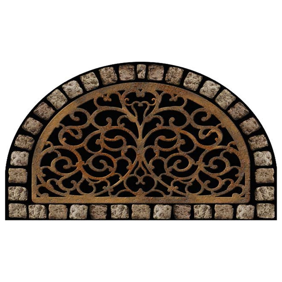 Apache Mills, Inc. Brown/Black Semicircle Door Mat (Common: 18-in x 30-in; Actual: 18-in x 30-in)