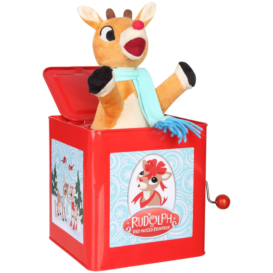 Gemmy Musical Rudolph Red Nosed Reindeer Fabric Tabletop Figurine