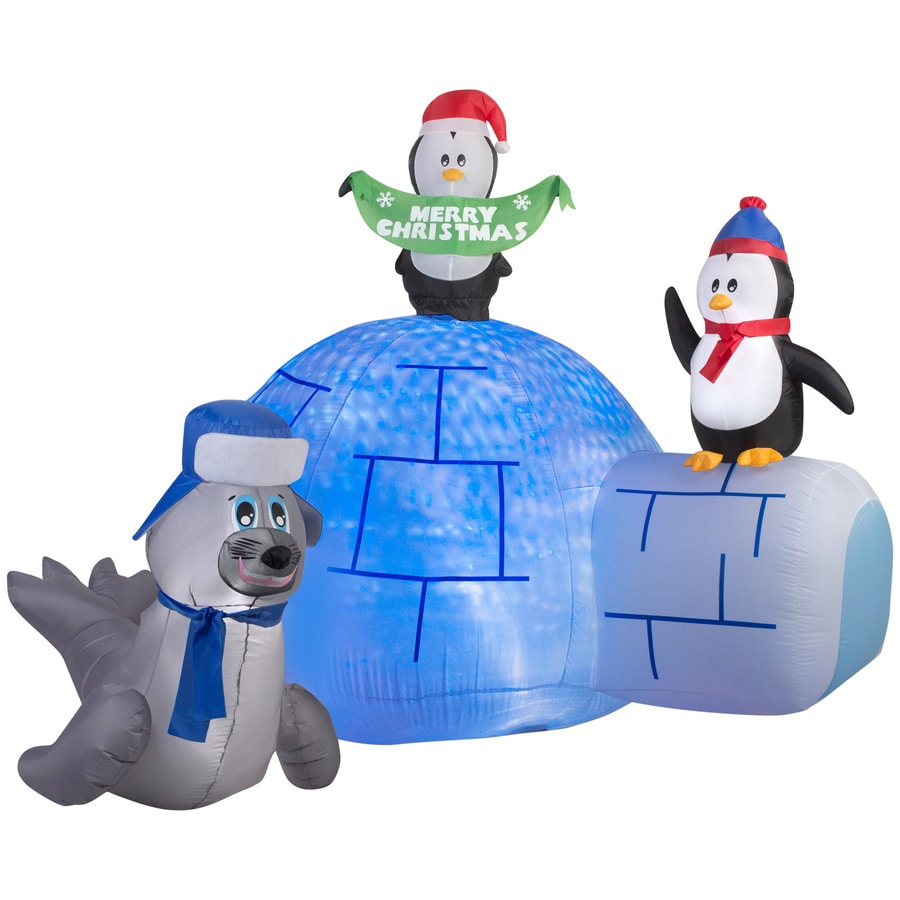 Shop Holiday Living 5.24-ft x 4.75-ft Animatronic Lighted Igloo Christmas Inflatable at Lowes.com