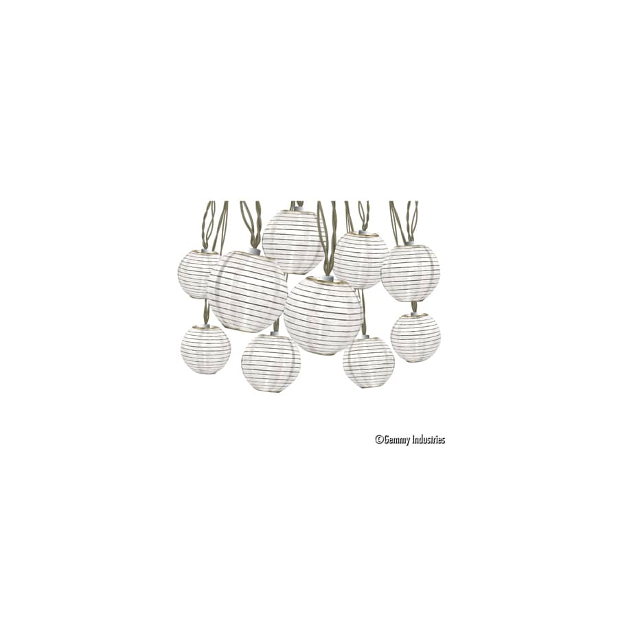 Gemmy 8.5-ft 10-Light White Fabric-Shade Plug-In Globe String Lights