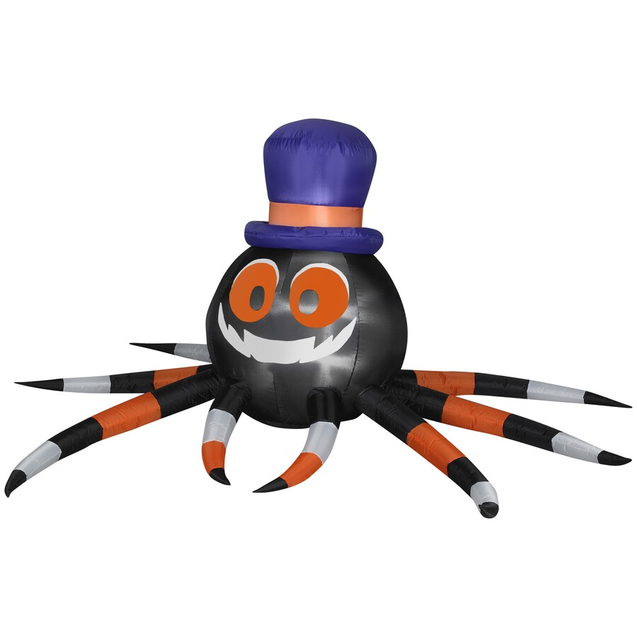 Gemmy 3.6-ft Inflatable Outdoor Spider with Witch Hat and LED White Lights